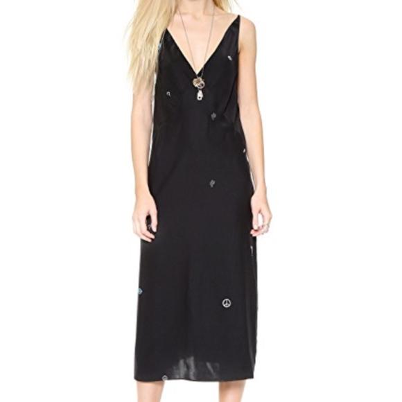 Veda Dresses & Skirts - VEDA PEACE PRINT SLIP MIDI DRESS BLACK SHOPBOP L